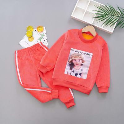 女童秋装套装2020新款儿童春秋冬季双面绒两件套简约时尚