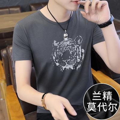 2020夏季新款短袖t恤男装莫代尔潮流灰色上衣服圆领冰丝印花半袖