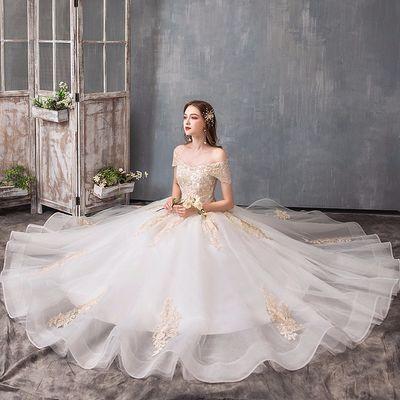 轻主婚纱礼服2019新款新娘结婚婚纱奢华森系显瘦简约一字肩齐地女