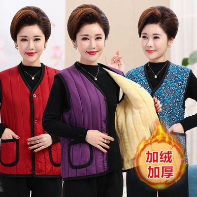妈妈棉马甲女士加绒马夹中老年人保暖上衣秋冬季装外穿加厚背心红
