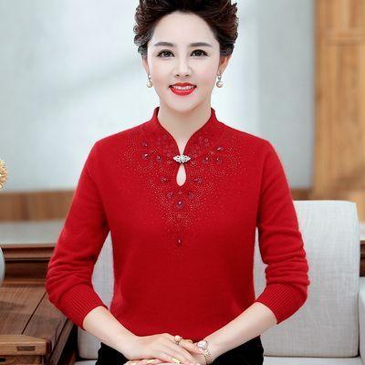 中老年女装秋冬羊毛衫旗袍领气质妈妈装本命年大红色貂绒打底上衣
