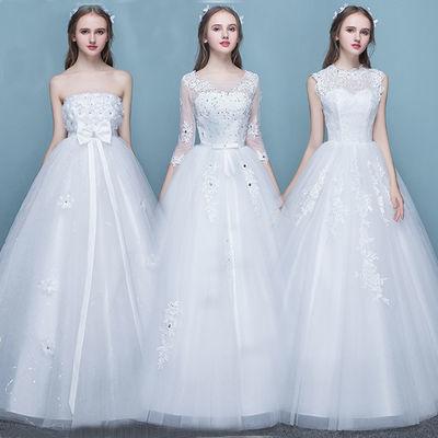 婚纱礼服蕾丝双肩V领显瘦公主齐地婚纱2019新款新娘结婚礼服秋冬