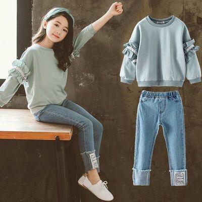 儿童装2020新款春秋女童套装韩版中大童时髦宽松卫衣休闲两件套潮