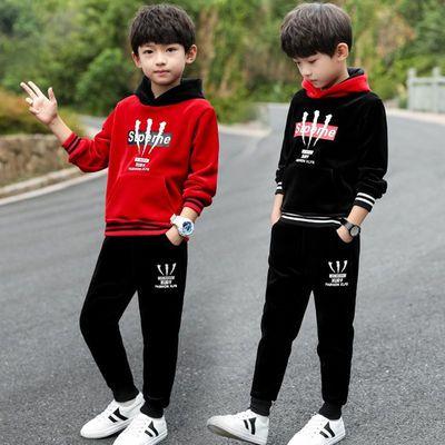 秋季冬装2020新款童装儿童双面绒卫衣两件套装金丝绒韩版加绒加厚