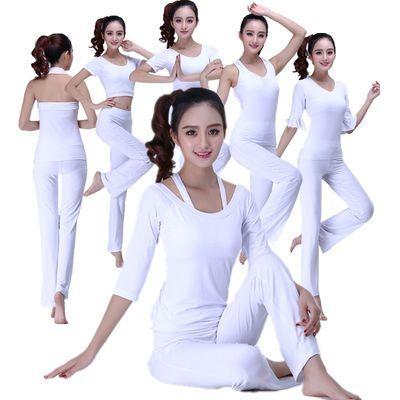 新款韩国专业白色瑜伽服套装性感修身春夏季显瘦纯棉健身房服女士