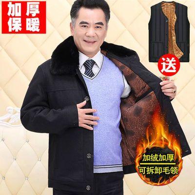 男装外套冬季中老年加绒加厚棉衣中年男士爸爸冬装中老年人棉袄