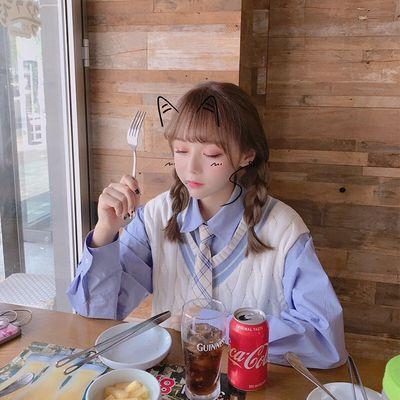 春季马甲女韩版chic慵懒风毛衣背心V领针织衫+长袖衬衫两件套装潮