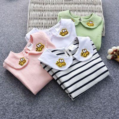 女宝宝打底衫纯棉婴儿长袖t恤女童春装小童春秋衣白色娃娃领上衣