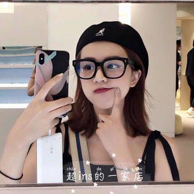 黑色粗框黑框眼镜女潮显瘦脸小方形近视平光眼镜架雪梨同款大框