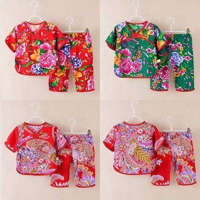 2020新款夏季薄款女童睡衣绵绸家居服套装女孩短袖两件套中国风