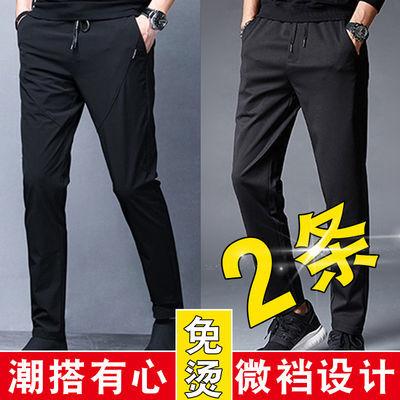 休闲裤男夏季韩版直筒速干裤青年修身弹力百搭长裤男士休闲裤