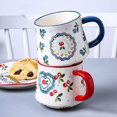 樱桃可爱陶瓷马克杯喝水杯子办公室家用茶杯情侣早餐咖啡杯