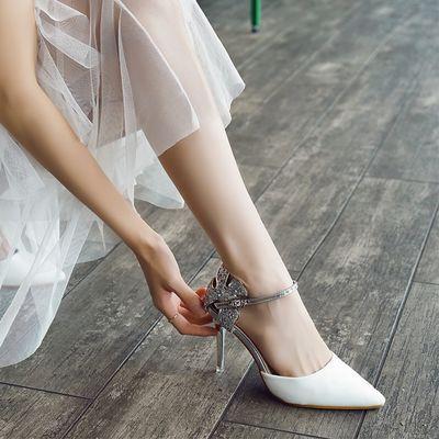 2020夏季新款性感尖头细跟网红高跟鞋一字扣侧空白色凉鞋女ins潮
