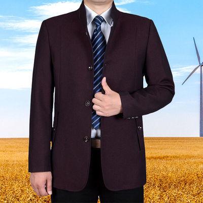 中年男装外套春季立领夹克衫秋季爸爸装40-50-60岁中老年男士上衣