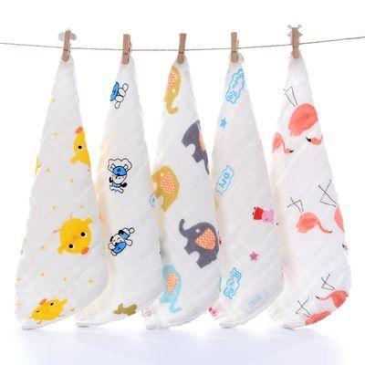 3/6装 儿童毛巾婴幼儿小毛巾口水喂奶巾纯棉洗脸巾纱布方巾手帕巾