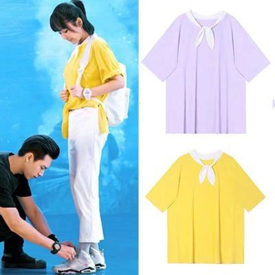 佟年鱿小鱼亲爱的热爱的杨紫同款蝴蝶结衬衫短袖T恤上衣女