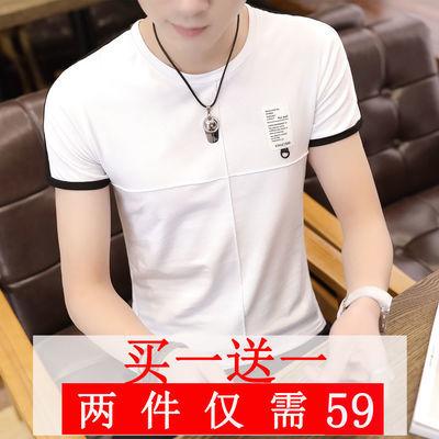 2020男士短袖t恤圆领修身上衣夏季韩版纯棉内搭白体恤男装半袖潮
