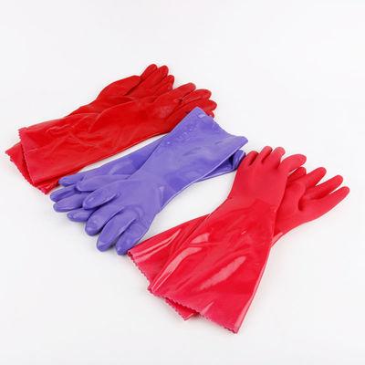 加绒加长PU一体绒家务手套洗碗洗衣服劳保手套防水耐磨洗车棉手套