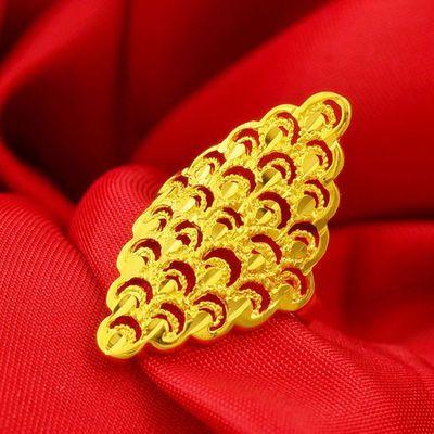 镀金戒指女开口可调节镂空凤尾戒久不掉色越南沙金时尚首饰送女友