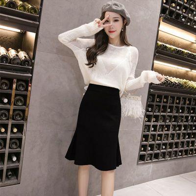 单/套装女秋冬新款针织韩版高腰包臀鱼尾裙+镂空针织衫时尚两件套