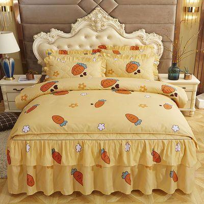 秋冬夹棉加厚床裙床上四件套床罩床单被套被罩结婚三件套床上用品