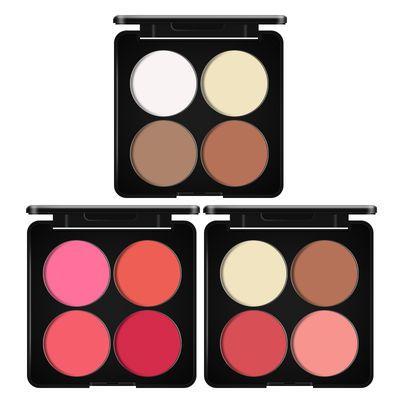 【送刷】四色腮红盘修容盘自然裸妆提升气色胭脂两用盘控油彩妆盘