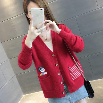针织开衫外套女毛衣2020春秋装新款学生韩版宽松百搭长袖短款上衣