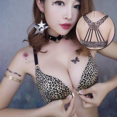 豹纹美背前扣式无钢圈薄款文胸聚拢上托胸罩小胸性感少女内衣套装