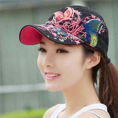 蝴蝶刺绣帽子夏季女士棒球帽韩版潮户外嘻哈太阳帽鸭舌夏天遮阳帽