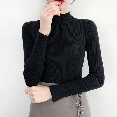 秋冬百搭半高领套头短款毛衣女打底衫修身显瘦纯色大码女装气质主图