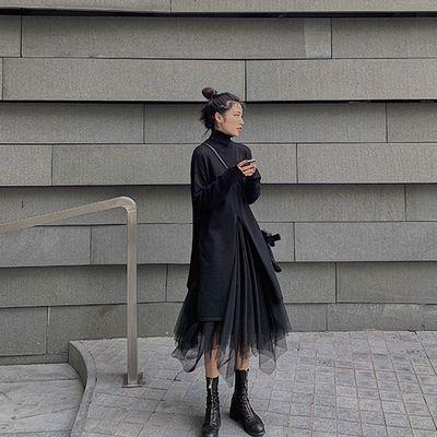 法式复古裙子针织连衣裙套装显瘦网红女神范两件套宽松秋冬装长裙