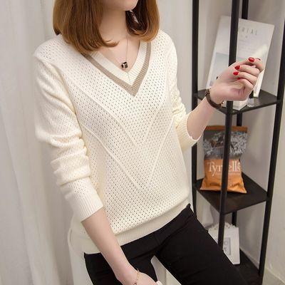 春秋新款针织衫女士套头短款韩版宽松大码毛衣薄款长袖打底镂空衫