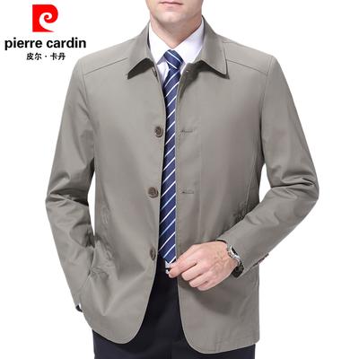 皮尔卡丹春秋季中年男装外套商务纯棉翻领中老年男士夹克衫爸爸装