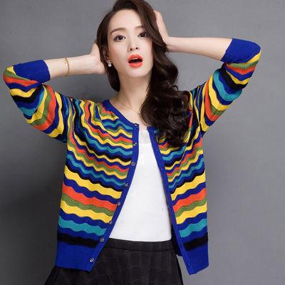 春秋女装条纹针织衫女短款韩版薄外搭开衫大码宽松毛衣小披肩外套