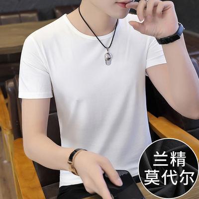 莫代尔新款短袖t恤男装潮流夏季上衣服修身圆领白色纯色半袖体恤