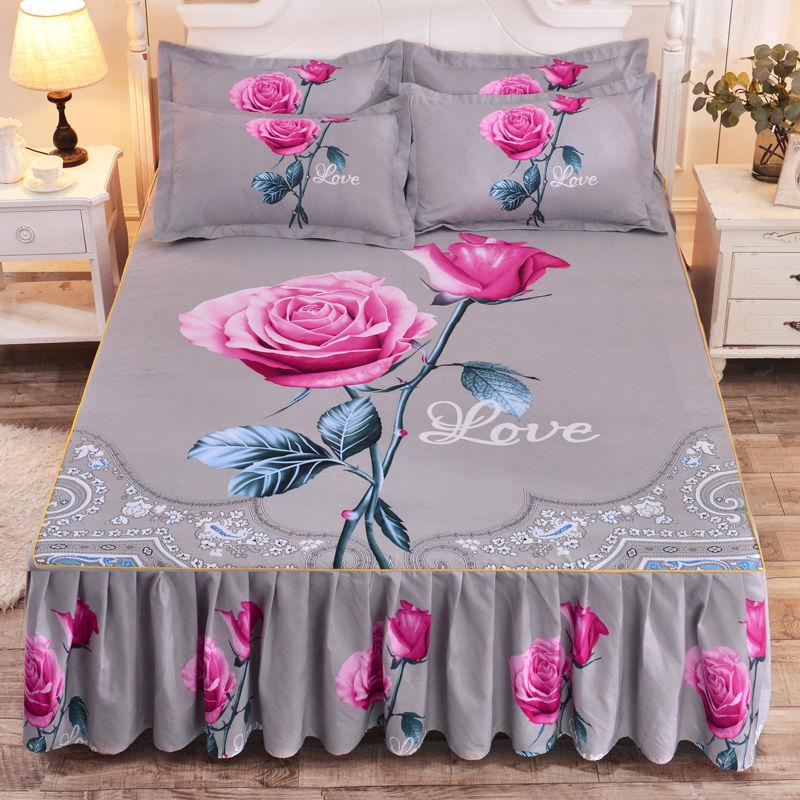 【床裙三件套】优诗莱【床裙单件+枕套一对】加厚婚庆大版花床裙