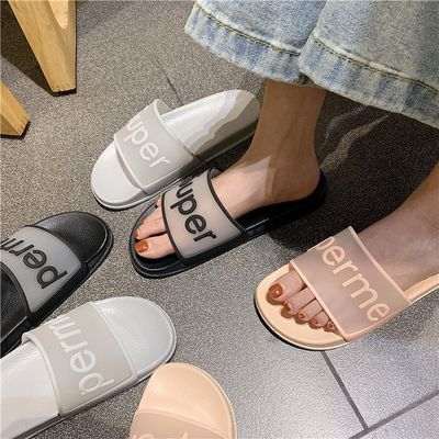 拖鞋女夏外穿学生韩版社会平底凉拖鞋时尚百搭防滑室外网红一字拖