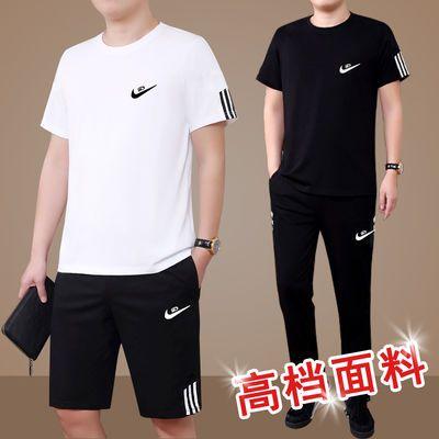 夏季2019新款男士运动套装大码休闲短袖短裤两件套中老年跑步衣服