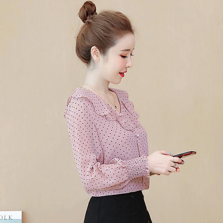 热卖新款超仙雪纺长袖衬衫女2021夏装韩版波点甜美衬衣时尚洋气荷