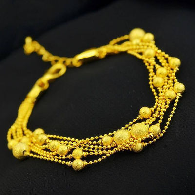 沙金手链女久不掉色真假黄金链子转运珠镀金手环3D泰国金饰品珠宝