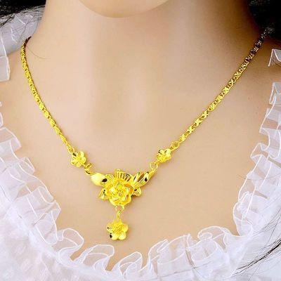 越南沙金项链女新娘结婚玫瑰花套链金色首饰品久不掉色泰国金珠宝