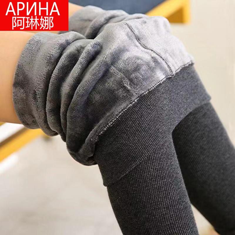 棉裤加绒加厚打底裤女外穿秋冬季显瘦棉竖条大码高腰保暖裤连裤袜