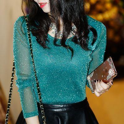 2019秋装新款蕾丝衫加绒半高领网纱打底衫女长袖T恤修身韩版上衣