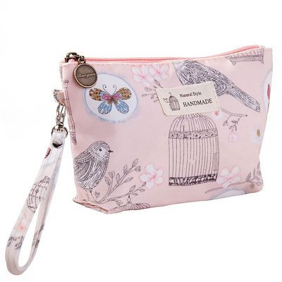 可爱字母防水布印花化妆包便携小号女士手拿包零钱手机包钥匙包