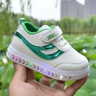 儿童小白鞋男女宝宝鞋皮面防水板鞋秋季1-6岁闪亮灯白色运动童鞋