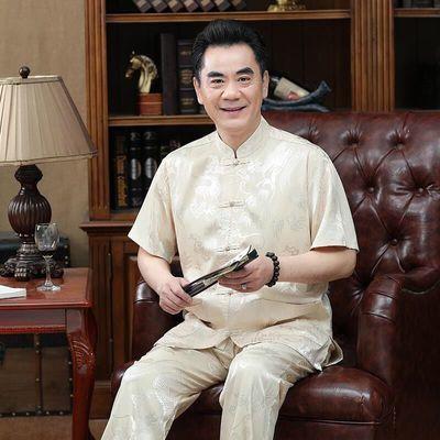 中老年人桑蚕丝唐装男短袖套装夏季中国风唐装老人衣服爷爷爸爸装