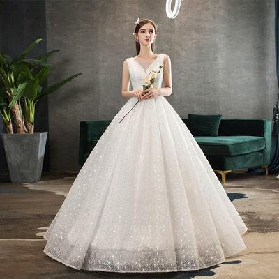 简约婚纱礼服2020新款新娘结婚韩版双肩v领显瘦公主梦幻齐地白色
