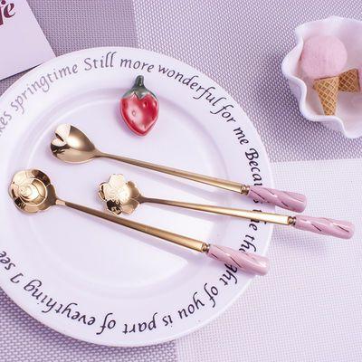 网红樱花勺子陶瓷花瓣创意日式可爱长柄咖啡勺子欧式小奢华搅拌勺