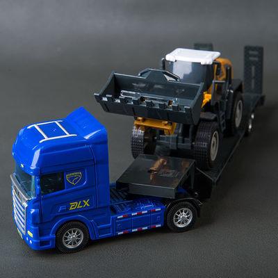 大号滑行平板拖车坦克挖掘机铲车运输卡车模型儿童工程车货车玩具