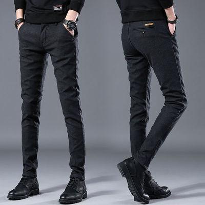 夏季薄款商务休闲裤男士修身小脚西裤男装韩版潮流学生黑色长裤子